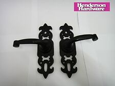 HENDERSON HARDWARE FLEUR DE LYS SAXON LOCK CAST IRON HANDLE IN BLACK - NEW