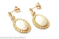 9ct Gold Mother of Pearl Drop Earrings Gift Boxed Made in UK