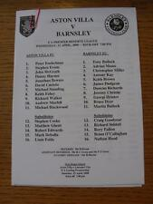 12/04/2000 Aston Villa Reserves v Barnsley Reserves  (Single Sheet)