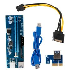 PCI-E 1X To 16X Riser Card With LED Lights USB3.0 Cable SATA Power Supply 6Pin