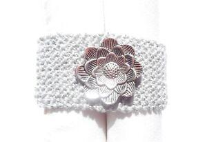 Knit Bracelet, Cuff Bracelet, Silver Acrylic Yarn, Pewter Flower, Handmade