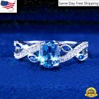 Oval Romantic Cut Aquamarine Women Wedding Jewelry 925 Silver Rings Size 6-10