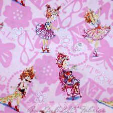 BonEful Fabric Cotton Quilt Pink Dot FANCY NANCY Costume Girl Flower NR FQ SCRAP
