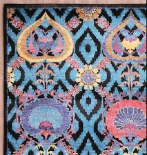 New Ikat 5'7''x7'10'' Persian Style wool & Bamboo Silk Handknotted Area Rugs