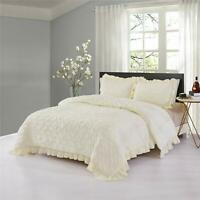HIG 3 Piece Lace Ruffled Shabby Chic-Pinch Pleat Design-Comforter Set with Shams
