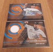 Lot of 2, 2014 Topps Henderson Alvarez Game Used Jersey and auto Miami Marlins