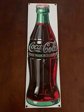 Vintage Ande Rooney Porcelain Coca Cola Sign Bottle 1989 soda coke pop bar metal