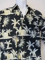 Rare CAMPIA MODA HAWAIIAN SHIRT Black Palm Trees Banana Cafe Button Tropical