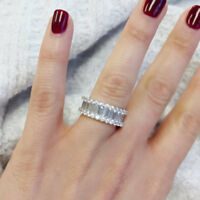 2CT Women 14K White Gold Over Baguette Cut Wedding Band Diamond Ring Channel Set