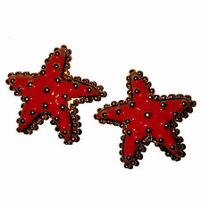 STUNNING CORAL ENAMEL STARFISH CLIP EARRINGS BY REPLICA COLLECTION