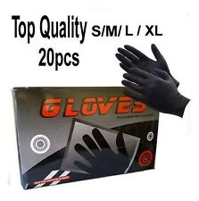 20pcs Tattoo Professional Gloves Powder Free Black Disposable Nitrile Workshop