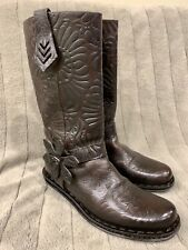 Auth. Fendi Brown Tooled Leather Flower Western Boots, 36.5, 6.5