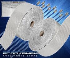 30Ft Turbo Exhaust Header Manifold Intake Catback Heat Wrap Kit +Zip Ties Silver