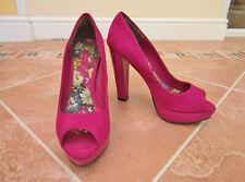 Next - Womens Bright Pink Suedette Peeptoe Platform Shoes - size 5/38