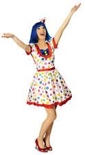 Damen Clownkostüm Pünktchen Buntes Zirkus Karneval Party Kleid Gr. 40 42 %SALE%