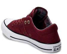 New Converse CTAS Madison OX Low Top Burgundy/Plaid Checker Sneaker Shoe Sz 5
