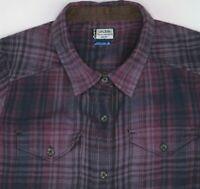 Kavu Plaid Flannel Tunic Shirt Dress Purple Corduroy Elbow Patches Small S