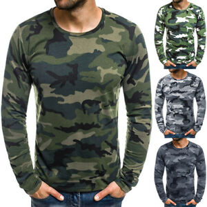 Men Long Sleeve T Shirt Camo Tactical Military Hunting Tee Camouflage Pullover