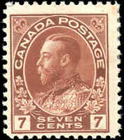 Mint H Canada 7c 1911-25 F+ Scott #114 King George V Admiral Issue Stamp