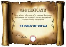 Unique Quirky Personalised  Step Dad Fathers Day Certificate Birthday Gift