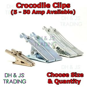 Heavy Duty Crocodile Clips - Small Large Battery Electric Test 5A 25A 50A Amp