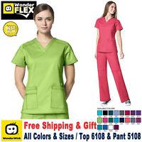WonderWink Scrubs Set FLEX Women's V-Neck Darted Top & Cargo Pant 6108/5108