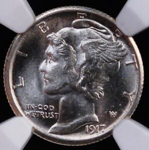 1917 S MERCURY DIME NGC MS 62 FLASHY WHITE WELL STRUCK INTERESTING DIE CLASH