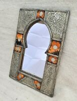Vintage Carved Mirror Handmade Wood Bone Copper Hand Traditional Wall Moroccan