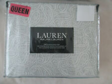 Ralph Lauren 4 Pc Queen Sheet Set  Paisly White /Gray Cotton Sateen 300 TC