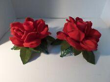 Vintage 60's Flocked Plastic Red Roses Green Leaf Base Candle Holders-Hong Kong