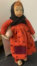 Antique Vintage Felt Cloth Lenci Style Doll Girl Holding Pig Red Polka-Dot Dress
