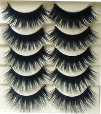 5 PAIRS FALSE EYELASHES EYE LASH WISPY DEMI LONG WISPIES BLACK BLUE CROSS THICK