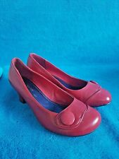 Red Hush Puppies 40s 50s Vintage Retro Style Court Shoes Leather Heels UK 6