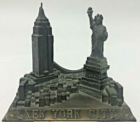Vintage New York City Skyline Statue of Liberty Empire State Building Bridge B