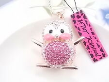 Betsey Johnson Fashion Jewelry Cute inlay Crystal Penguin Pendant Necklace #N