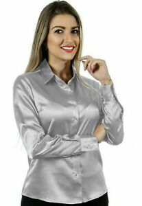 Women Satin Work Casual Office Shirt Button Down Solid Collar Blouse - Silver