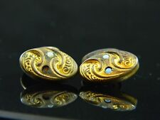 Antique WW1 Era Pair Of Cufflinks With Light Blue Stone