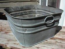 VINTAGE GALVANIZED 20 inch SQUARE TUB GOOD HANDLES UNMARKED