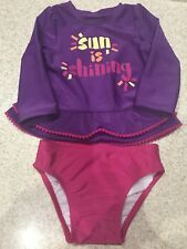 "NWOT! Baby CAT&JACK swim suit rash guard long sleeve 18M purple ""Sun is shining"""
