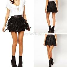 Women Lady Faux Leather Fringe Cover High Waist Mini Dacing Tassel Skirt