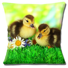 """Cute Novelty Yellow Brown Goslings Ducklings Flowers  16"""" Pillow Cushion Cover"""