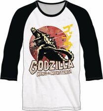 GODZILLA MEN'S WHITE & BLACK RAGLAN T-SHIRT X-LARGE NEW #soct17-403