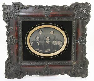 DAGUERREOTYPE en format demi plaque Famille avec 5 personnes GB Vers 1850