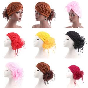 Women's Hair Loss Head Scarf Turban Cap Big Flower Muslim Cancer Chemo Hat Cover