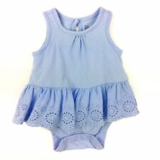 Baby Gap 0 3 months Eyelet Ruffle Sleeveless Bodysuit Blue Dress Sundress