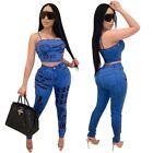 Club Women High-elastic Imitation Jeans Camisole Back Zipper Rivet Pants 2Pcs