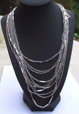Superbe Grand collier couleur argent sautoir bijou vintage 10 rangs mailles 3252
