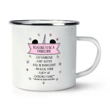 Reasons To Be A Pandicorn Retro Enamel Mug Cup - Panda Unicorn Funny Camping