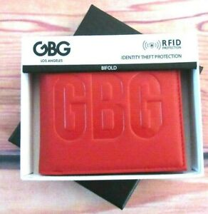 MENS G GUESS GBG EMBOSED BIFOLD RED WALLET WITH ORIGINAL GIFT BOX