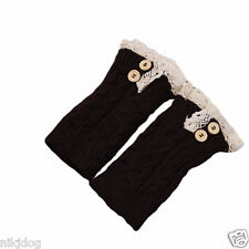 Black Leg Warmers Toppers  Short Crochet Lace Buttons Boot Cuffs